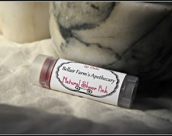 Natural sheer pink peppermint lip balm, Naturally tinted with Alkanet herb