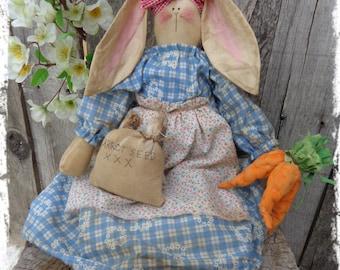 OOAK Primitive Bunny Rabbit Rag Doll, Easter Bunny, Spring Decor, OFG FAAP