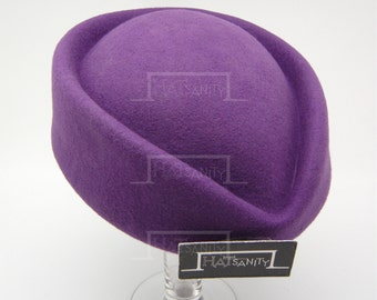 VINTAGE x ELEGANT Wool Felt Pillbox Hat - Purple