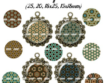 60 digital images for pattern 10 cabochon (25, 18 x 25, 20, 18x13mm)