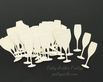 Champagne Glasses Confetti, Champagne Glasses Die Cuts, Champagne Glasses Cut Outs, Wedding Glasses Die Cuts, Wedding Confetti, 40 Ct.