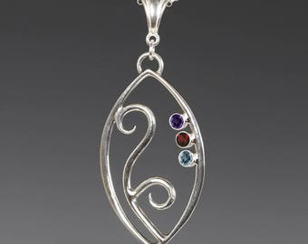 Mother's / Grandmother's Necklace. 3 Birthstones. Filigree Pendant. Sterling Silver. Lab-Created Gemstones.