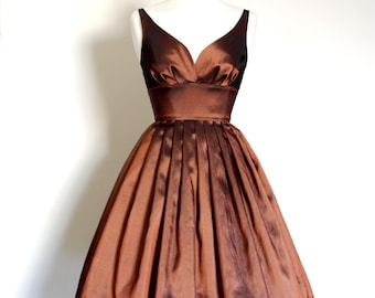 Copper Taffeta Sweetheart Prom Dress with Full Pleated Skirt- Made by Dig For Victory