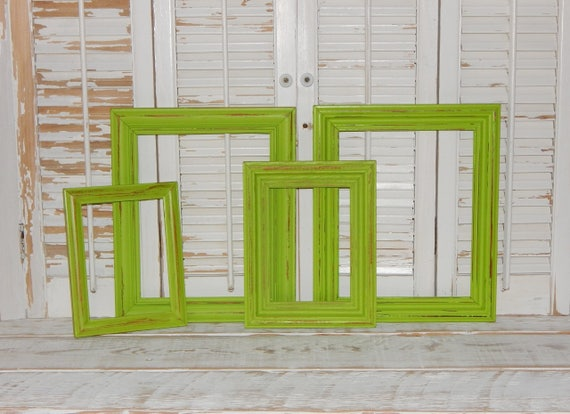 Lime Green Frames 4 Distressed Shabby Country Chic Picture Frames ...