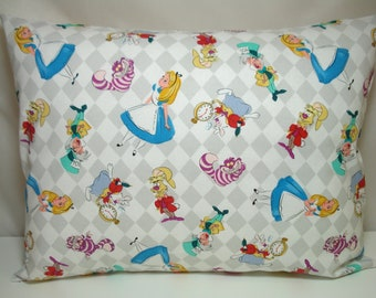 "TRAVEL Pillowcase / 12"" X 16""  Pillow Cover / ALICE in WONDERLAND Pillowcase / Kid Pillow / Adult or Kids Travel Pillow / Alice Pillowcase"