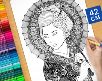 Coloring poster - GEISHA (16.5 inches)