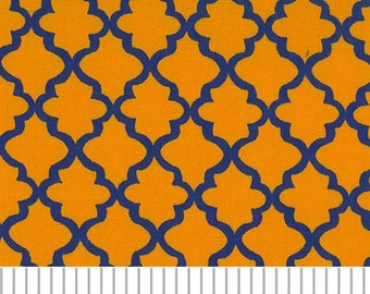 Gold and Purple Mini Quatrefoil Fabric, Fabric Finders,100 percent cotton, Purple and Gold Quatrefoil