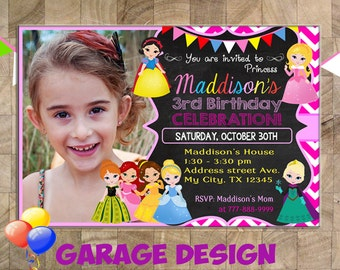 Princess Birthday Invitation, Princess Invitation, Princess Party, Princess Invite, Princess