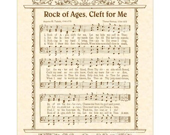 ROCK OF AGES Cleft For Me - Hymn Art - Custom Christian Home Decor - VintageVerses Sheet Music - Inspirational Wall Art - Sepia Brown