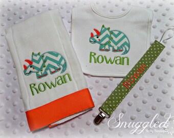 Personalized Dinosaur Burp Cloth, Bib, Pacifier Clip Gift Set