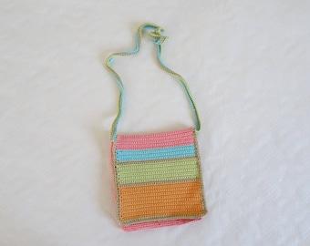 Shoulder bag, small bag, flap bag, girl gift, woman gift, beach bag, girl bag, cotton bag, hand knitted bag, hooked bag