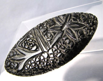 Black Deeply Carved Genuine BAKELITE Brooch, Vintage 1930's Floral CATALIN Pin