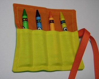 4 Count Mini Crayon Keeper Roll Up Holder Party Favor Color-Block
