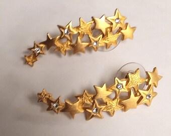 J Jonette Gold Tone Shooting Star Earrings with Clear Rhinestones Pierced Posts
