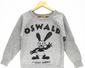 DISNEY OSWALD The Luck Rabbit Cartoon Anime Double Sided Print Sweatshirt Jumper
