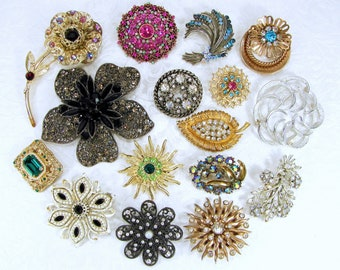 Instant Collection 16 Brooch Lot Wearable Vintage Rhinestone Brooches Flower Enamel Scatter Stage Theater Costume Jewelry Mosaic Hair Crafts