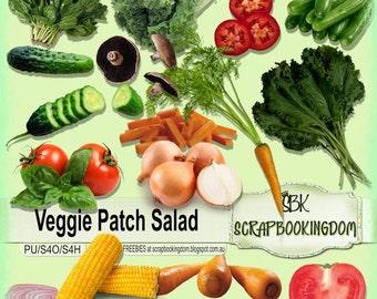 Scrapbook Kit : Veggie Patch Salad ; Digital scrapbooking embellishments vegetables, lettuce, spinach, tomato, corn, onion, lettuce,cucumber