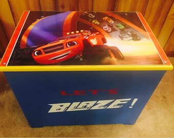 Blaze and the monster machines - kids toy box - kids toy storage - boys toy box - childrens toy box - boys room decor - kids furniture