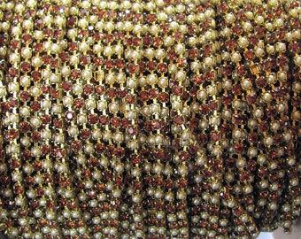 Swarovski Crystal Smoky Topaz Pearl Rhinestone  Chain, Raw Brass 18 pp priced per foot