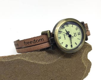 Women's Retro Freedom Watch, Brown Leather Strap, Birthday Gift