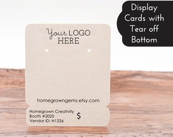 Earring Display Cards - Necklace Cards - Perforated Tear Off Bottom - Perforation - Packaging