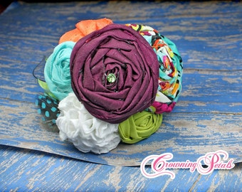 Purple, Orange, Turquoise Hair Accessory, Fabric Flower Headband, Fabric Flowers, Plum Hair Clip, Baby Headband, Hair Bow, Aqua