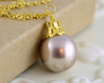 Taupe Necklace, Christmas Ornament Jewelry, Gold Plated Cable Chain, Tan Round Glass Pearl Ball, Wire Wrapped, Holiday Gift Idea