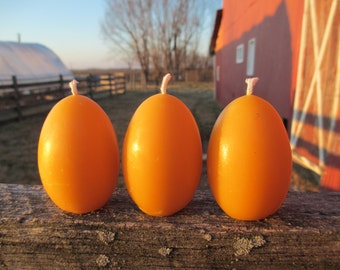 """Beeswax Candles - Set of 3 Oval Egg Shaped Candles, 2.5"""" tall"""