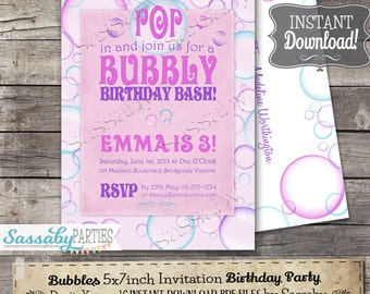 Bubbles Invitation - INSTANT DOWNLOAD - Editable & Printable Pink Girls Birthday Invite by Sassaby Parties