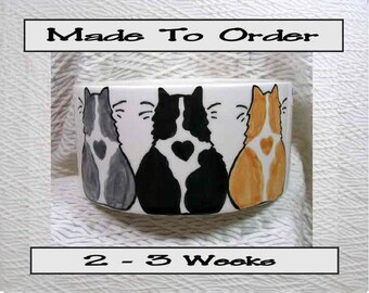 Cat Bowl With 3 Cats Outside and Paw Prints Inside 20 Oz. Ceramic Handmade To Order