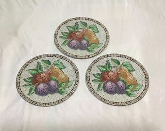 Sango Zoey Set of 3 Oval Salad Plates Cool Mosaic pattern