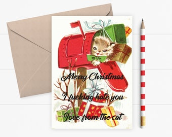 Funny Christmas Card | From The Cat