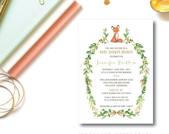 Woodland Watercolor Baby Shower Invitations