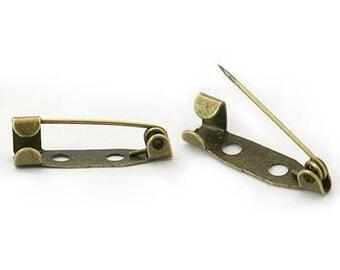 10 x 20mm BRONZE brooch finding