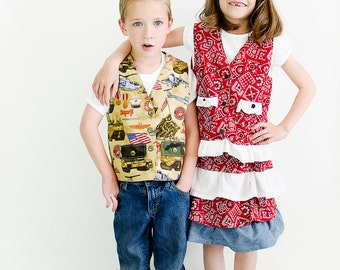 Casual Reversible Vest Sewing Pattern PDF epattern. Boy, Girl, Baby Sizes Newborn-12