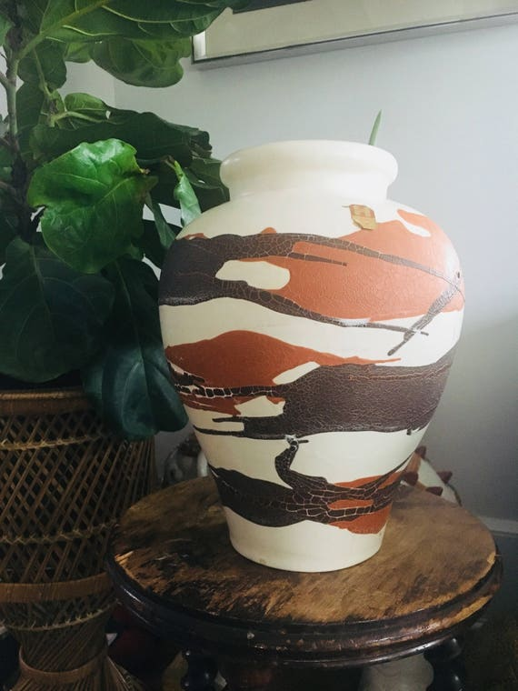 RARE Vintage Earth Wrap Haeger Oversized Large Vase - Mid-Century Haeger Pottery - MCM Neutral Tone Decorative Vase