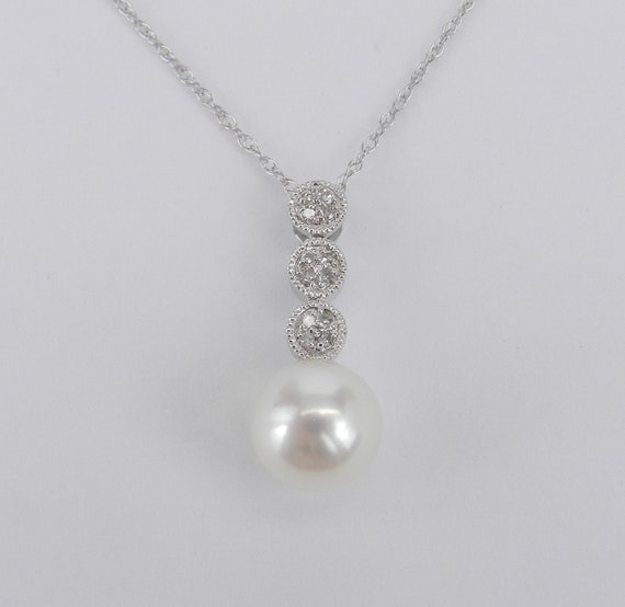 """14K White Gold Diamond and Pearl Pendant Necklace with Chain 18"""" June Birthday"""