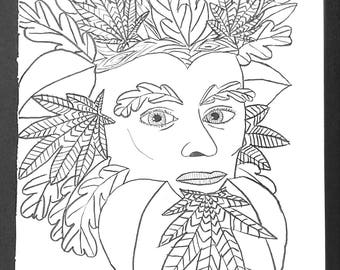 Green Man Adult Coloring Page, 8x10 Printable