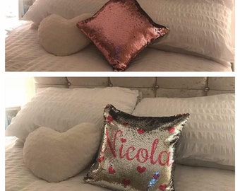 Reversible Sequin Cushion  personalised PINK OR BLUE