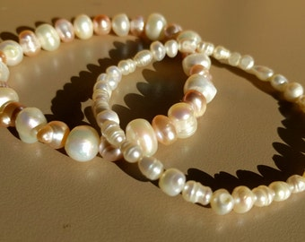 Set of Two Freshwater Pearl Beaded Stretch Bracelets