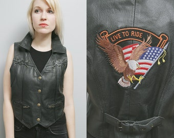 "Sale 40% Off VTG 80's Unisex Black Leather Biker Easyrider Motorcycle Vest ""Live to Ride"" - L/XL"