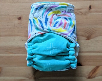 Brushstrokes and Teal Trellis OBF Hybrid Fitted Diaper - OS Hybrid Fitted Cloth Diaper - OS Fitted Diaper with Fold Down Rise
