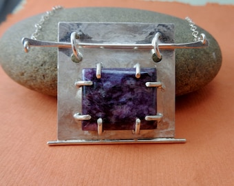Ready to Ship! Purple Reign: Sterling and Charoite Square Artwear Necklace by Judi Goldblatt Studio