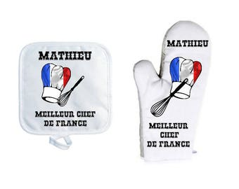 Oven glove with personalized Potholder, name choice, kitchen utensils, hat with flag of your choice