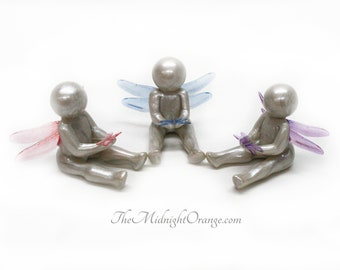 Dragonfly Symbol of Comfort - child loss sympathy miscarriage gift - clay baby sculpture -  gift of comfort - made to order