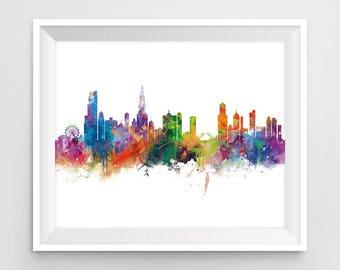 Chicago Print, Chicago Skyline, Illinois Poster, Wall Art, Chicago Art, USA, Cityscape, Landmark, Gift, Travel, Home Decor, Urban, Download