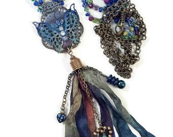 Blue Verdigris Butterfly Tassel Necklace Crochet Inspirational Affirmation Positive Dream Faith Soar Antique Brass Rustic Boho Chic Gypsy