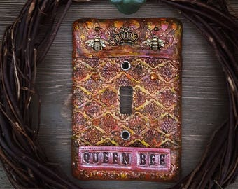 boho light switch cover - queen bee - beekeeper - home decor - home and living - beekeeping - bohemian - mosaic - bumble bee