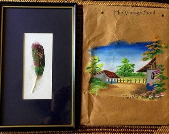 REDUCED, Costa Rica 1993 Hand Painted Feather Souvenir, Costa Rica Art, Hand Painted Village Scene Costa Rica, Eco Friendly Art, Ethnic Art