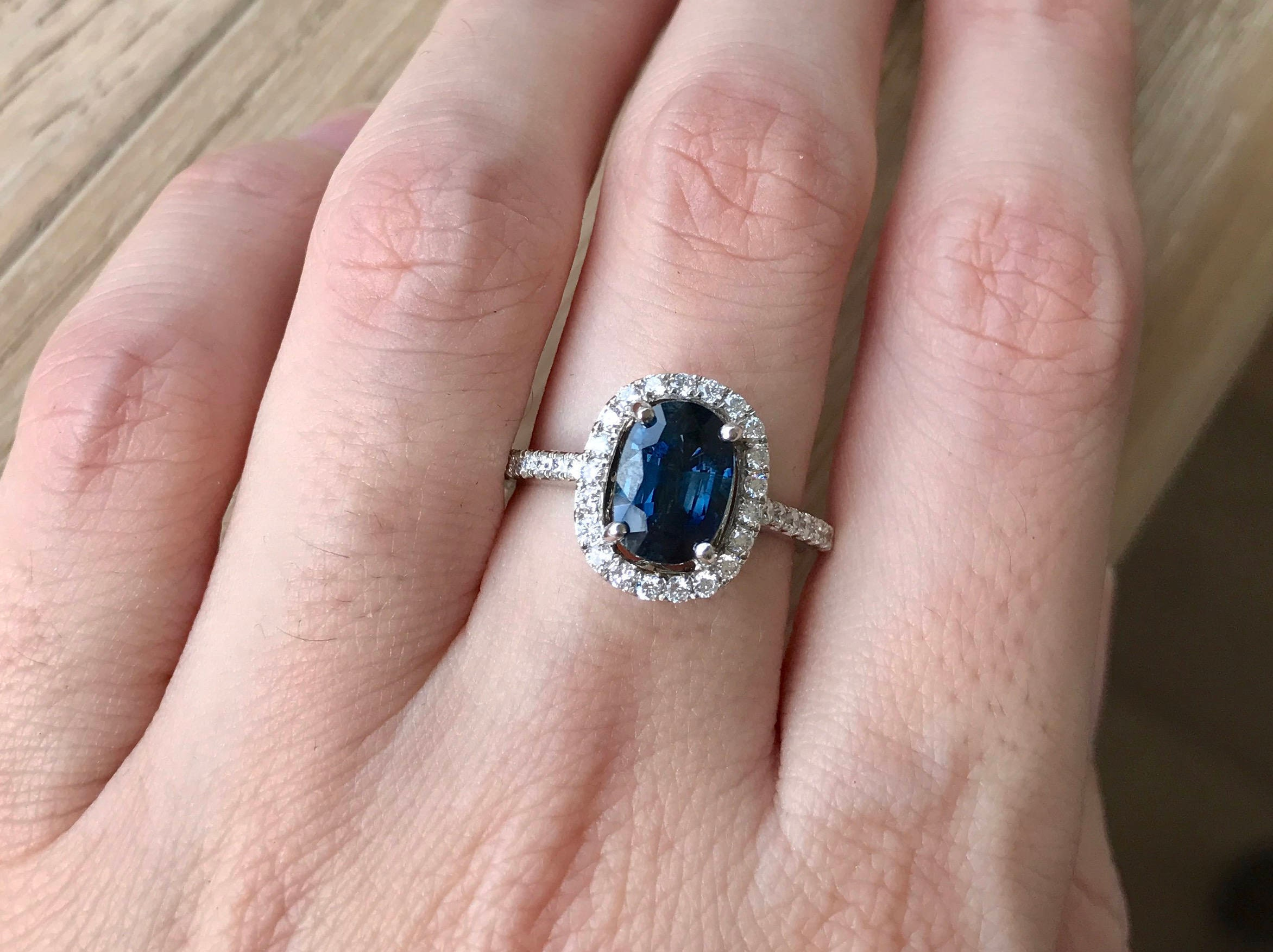 Blue Sapphire Engagement Ring Genuine Oval Blue Sapphire